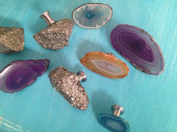 Assortierte Agate und Pyrit Edelstein Knöpfe   Optionen: Kleinen Agate Schrank Knopf. Verwendet für kleine Möbel Beschlag (Badezimmerspiegel,