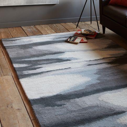 West Elm grey ikat floor rug