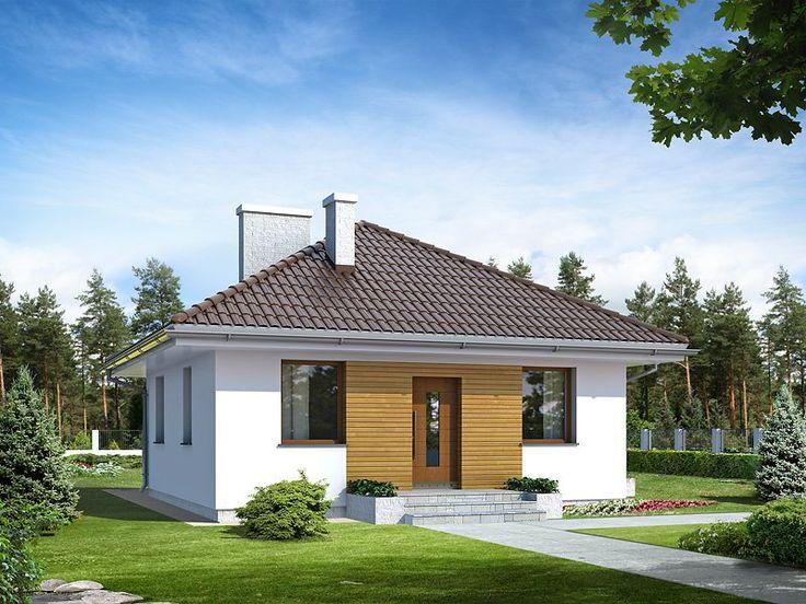 Mały, wygodny dom parterowy. Prosta bryła i oszczędny detal czynią dom tanim w budowie i użytkowaniu. Program funkcjonalny idealny dla małej rodziny. Duży taras połączony z pokojem dziennym.