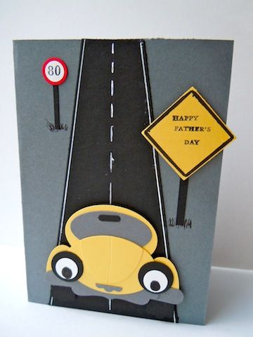I know Father's Day is long since past but I haven't yet showed you the cool card that I made for my hubby earlier this month. I found this idea for a punch art car online, and I copied the design...
