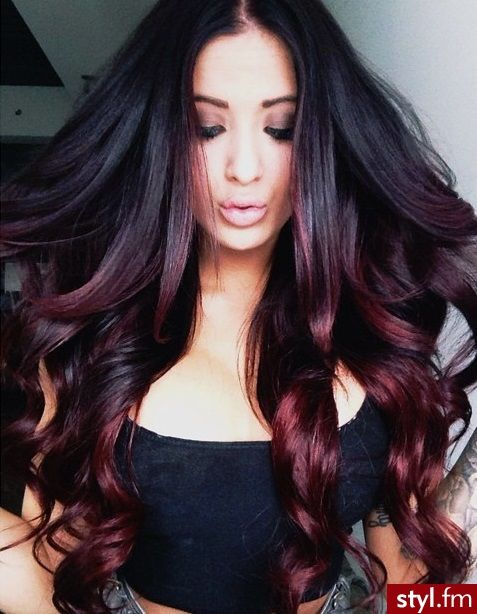 Mark brunette with deep red balayage