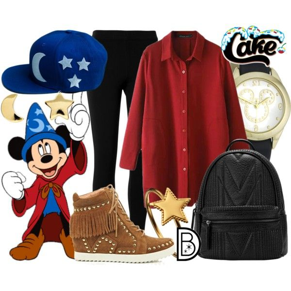 "http://www.cakeworthystore.com/products/sorcerors-hat Cakeworthy's ""Sorcerer"" Hat by leslieakay on Polyvore featuring Max Studio, River Island, Phoebe Coleman, Erica Weiner, Disney, disney and disneybound"