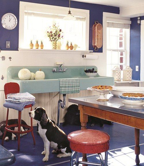 White And Blue Stripped Kitchens