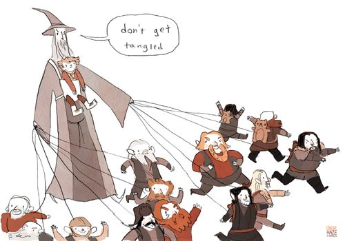 I loved watching Gandalf try to keep track of all the little dwarves. Hahaha. Like a preschool teacher on a field trip. <3 and especially how he is carrying Bilbo