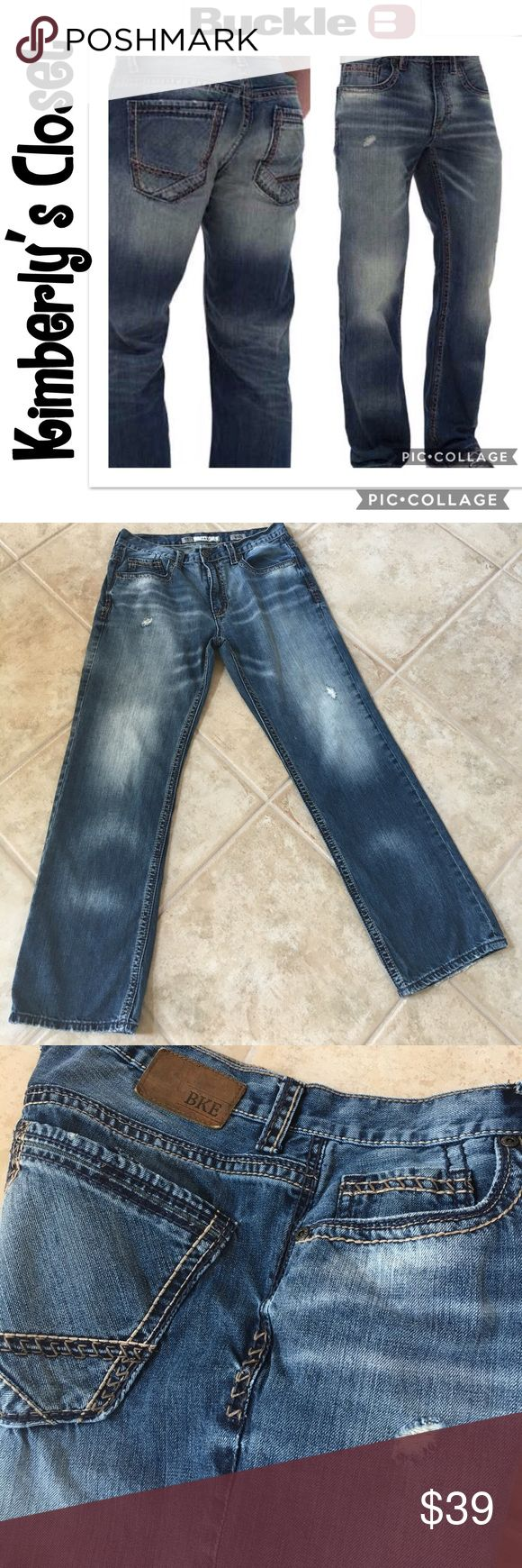 """🌟MEN'S BKE JEANS🌟 Go back to school in these super trendy Men's BKE (Buckle Brand) Jake jeans.  Regular fit; bootcut; 100% cotton comfort stretch fabric; mid rise; hand sanding, whiskering, grinding, and thick stitch details; zip fly.  31"""" inseam.  Gently used - great condition.  Only sign of wear is some fraying around bottom leg openings (see photos). BKE Jeans Bootcut"""