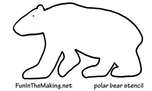 polar bear template - use to make craft stick polar bears or fuzzy polar bears with cotton balls