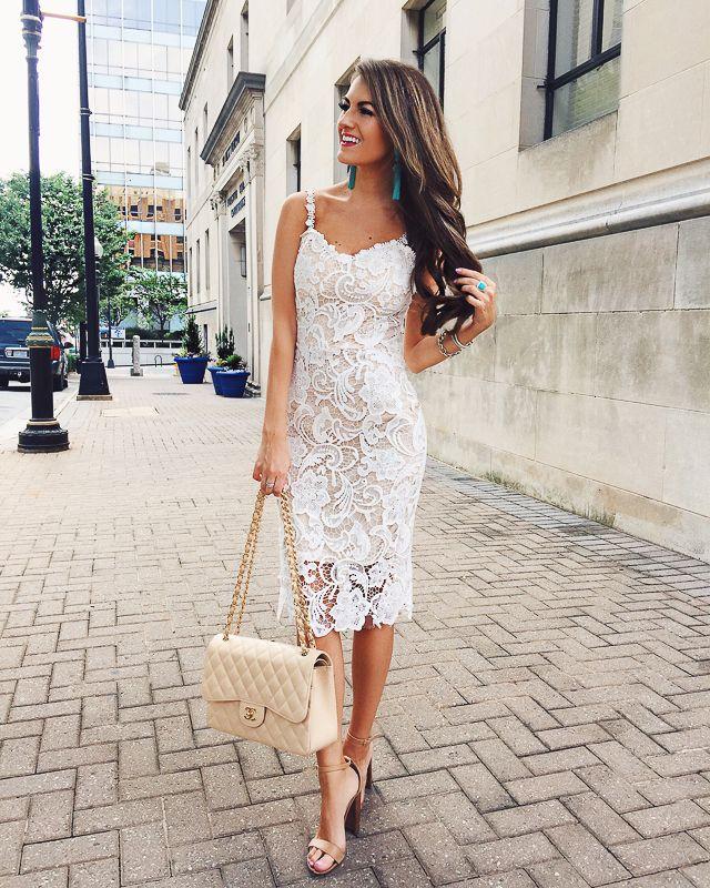Goodnight Macaroon white lace dress / Chanel bag / Steve Madden Carrson heels #FASHION