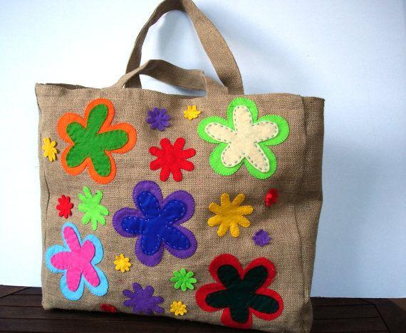 Summer bag  Eco friendly  Jute tote handbag / by Apopsis on Etsy