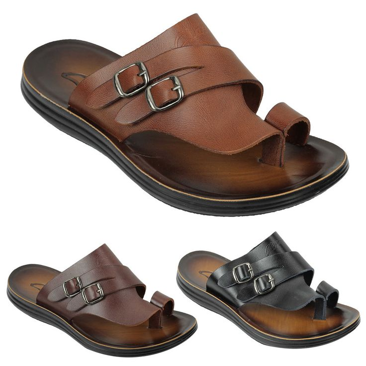 Mens Genuine Polished Leather Sandals Cross Strap Buckle Walking Beach Slippers In Black Brown
