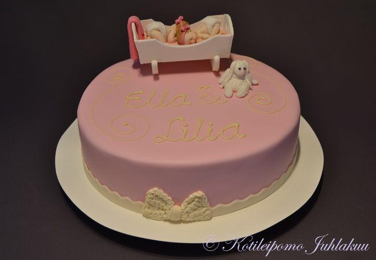 Twin girls' Christening cake