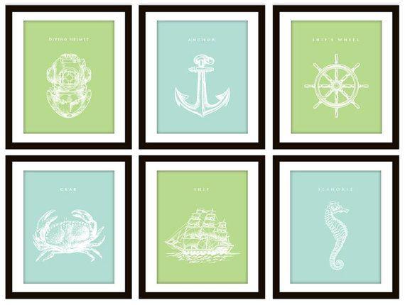 Color possibilities for front bathroom. Blue & Green Nautical Bathroom Prints (DIY!) - via @Etsy.