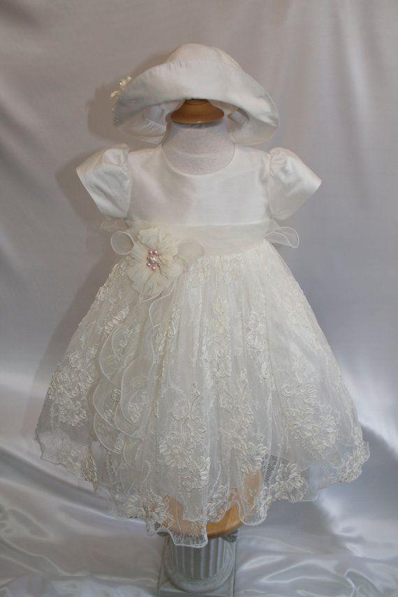 2pc Vaftiz elbise güzel süslemeli fildişi gölge ve Avrupa Fransız Dantel% 100 Dupioni İpek ile yapılan