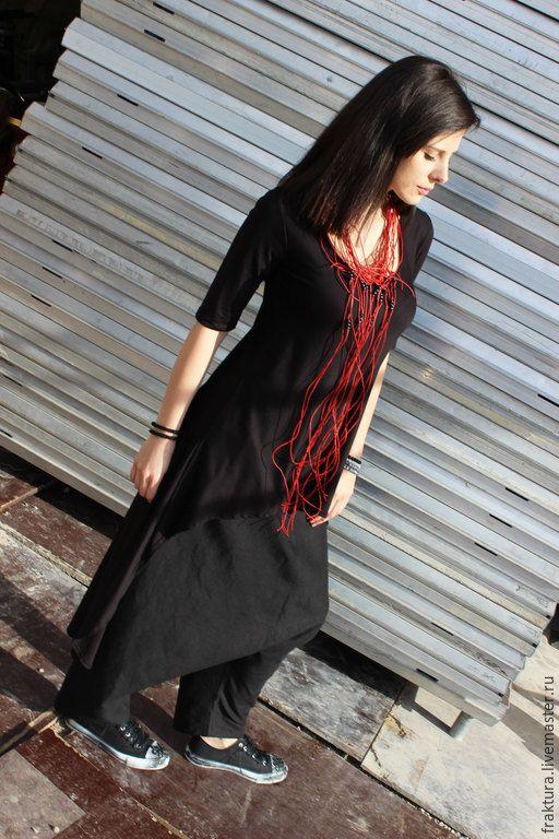 Купить Длинная туника - майка B0006 - черный, легкая туника, туника, свободная одежда