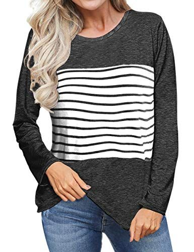 08eaa8daf96 ... Casual Loose Blouses Round Neck L. Aokosor Women s Long Sleeve T Shirts  Color Block Striped Tops Blouses  tees  longsleeve