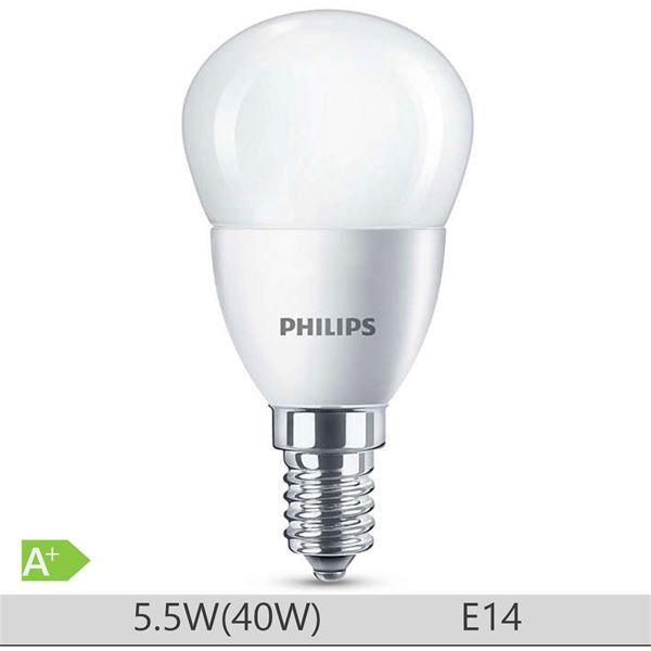 Bec LED Philips 5.5W E14, forma clasica P45, lumina calda http://www.etbm.ro/tag/149/becuri-led-e14