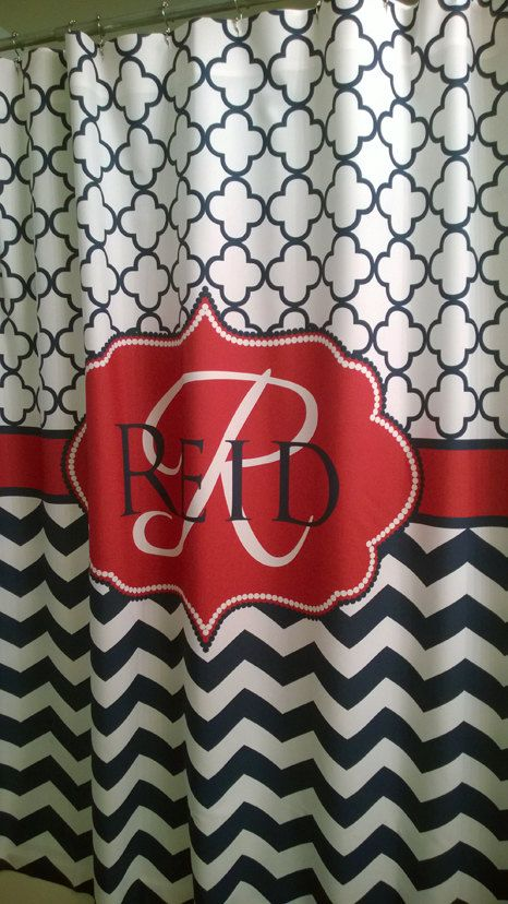 Shower Curtain Chevron Quatrefoil Lattice YOU CHOOSE COLORS 70, 74, 78, 84,  88, 96 Inch Monogram Personalized Shown Navy And Red