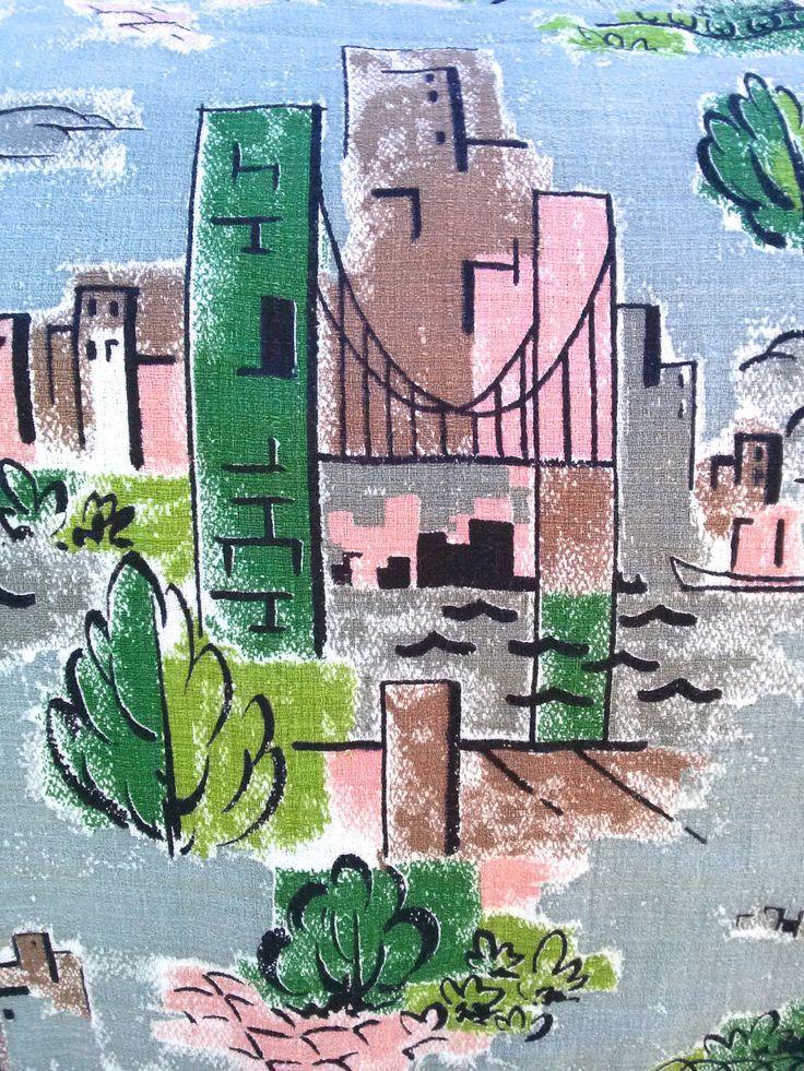 Vintage 1950s Fabric Novelty Print Cotton 50s MCM Design Cityscape 3/4 yard 201780 by bycinbyhand on Etsy