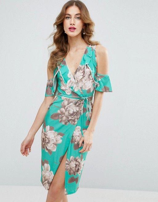 ASOS green Ruffle Cold Shoulder Floral Wrap Dress