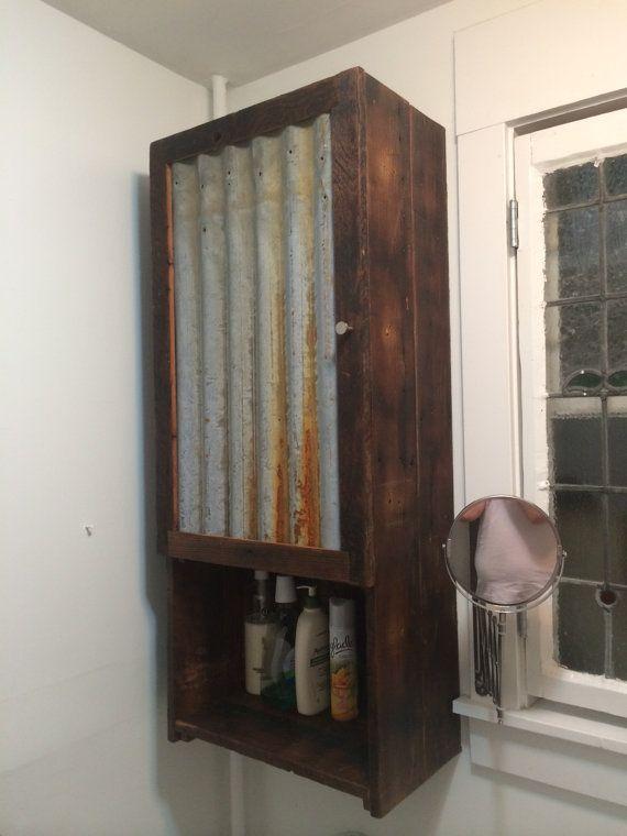 Barn-Wood Medicine Cabinet with Tin Door by JSReclaimedWood