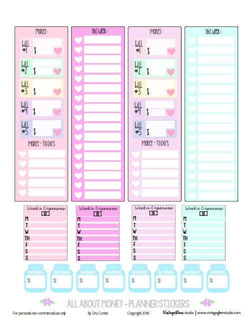 Planner & Journaling Printables ❤  FREE All About Money Planner Stickers | Free printable