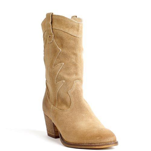 Poelman 13110 cowboy booties beige suede