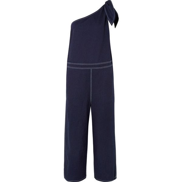 MM6 Maison MargielaOne-shoulder Denim Jumpsuit ($575) ❤ liked on Polyvore featuring jumpsuits, dark denim, dark blue jumpsuit, wide leg jumpsuits, denim jump suit, wide leg denim jumpsuit and denim jumpsuits