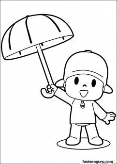 Printable coloring sheet of cartoon Pocoyo with Umbrella - Printable Coloring Pages For Kids