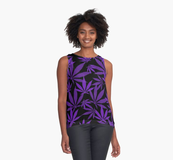 Ganja cut in Fabric purple and black pattern by cool-shirts
