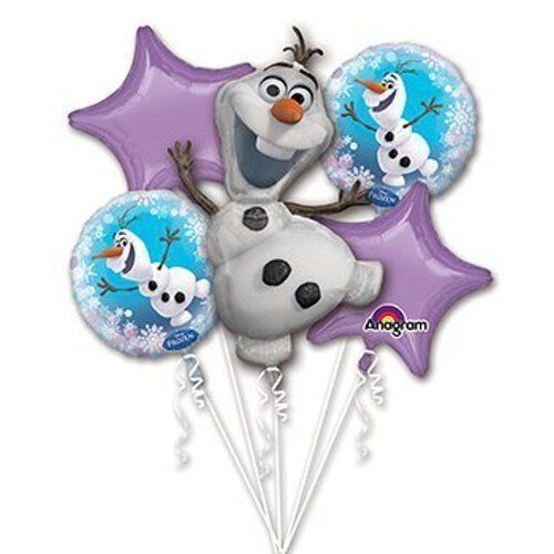 """Cartoon Birthday Party Favor Supplies 5 CT Foil Balloons Bouquet. Disney Frozen Olaf Birthday Party Favor Supplies 5 CT Foil Balloons Bouquet. 1 Super Shape XL. 2 Standard 17"""". 2 Standard XL Stars 19"""". Balloons can be filled with Air or Helium."""