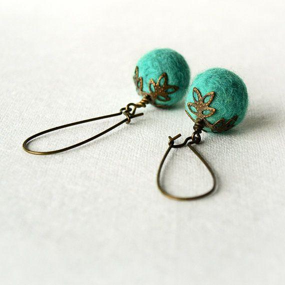 Handmade Felted Earrings Wool Turquoise Earrings Felted Dangle Earrings Antique Brass Felted Jewelry
