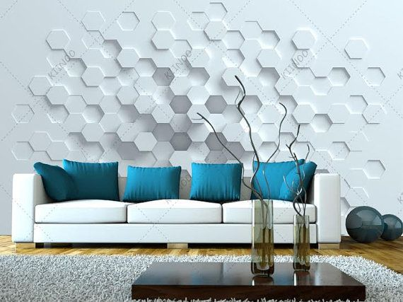 Great Geometric Wall Mural Hexagons In White Minimalist Design By KIINOO Part 13