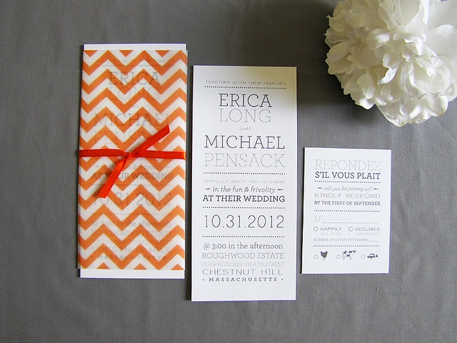 chevron pattern on vellum: Chevron Patterns, Modern Playbill, Modern Wedding, Bride Stationery, Wedding Invitations, Chevron Wedding, Invitations Ideas, Orange Chevron, Wicked Bride