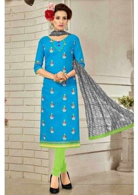 couleur bleu brasoo costume coton churidar, - 61,00 €, #Salwarkameez #Salwarkameezfemme #Salwarkameezmariage #Shopkund