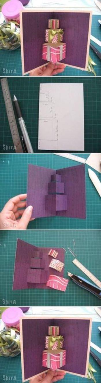 プレゼントが飛び出すパターンも♪もちらは普通のカードサイズでも充分楽しめます。マスキングテープやリボンを上手くアレンジしてみましょう♪
