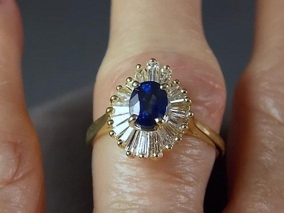 Sapphire And Diamond Ballerina Ring