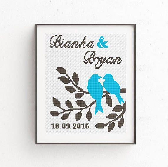 Love Birds Cross Stitch Pattern Wedding Gift Personalized