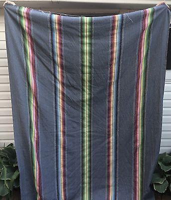 Vintage Fabric Denim Stripes Navajo Style Blue Yellow Green Red Burgundy 98x 64