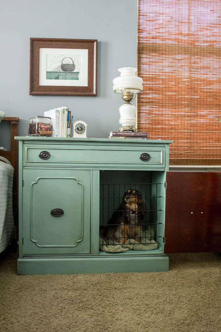 Server turned into a nightstand / dog crate. Close the door during non-used times. Open the door while dog is inside. Dog enters and exits through non-grated door-frame.