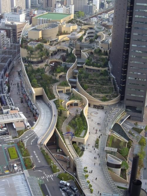 Elevated urban gardens in Osaka! Lets me think about our car-orientated cities and broad motorways. The liveable City is the walkable City!