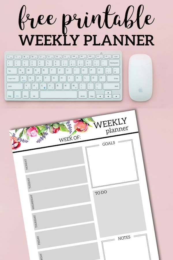 Floral Free Printable Weekly Planner Template DIY And Crafts
