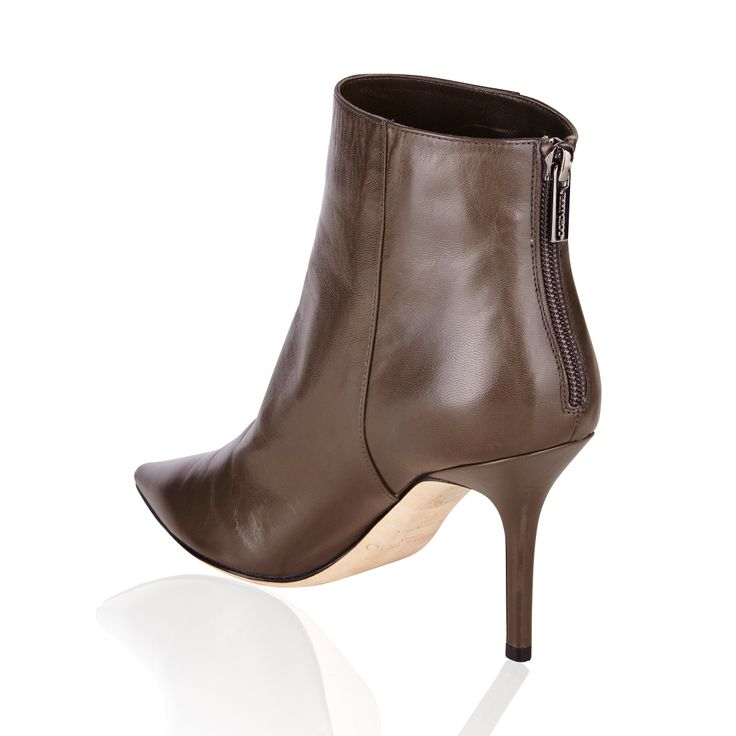 "Jimmy Choo Amore Kid Leather Ankle Boot Light Smoke - Build the foundations to your day-to-night essentials with Jimmy Choo's Light Smoke leather ""Amore"" ankle boots. Wear this pointed pair with sharp tailoring for the most polished take. Fits small to size, take a half size larger than normal."