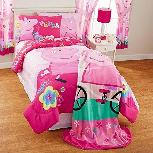 Girls Hot Pink Peppa Pig Tweet Tweet Oink Comforter Twin