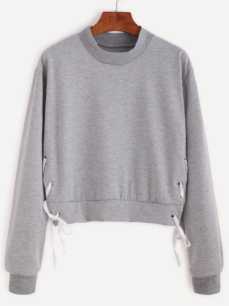 Sweat-shirt en œillet avez lacet - gris -French SheIn(Sheinside)