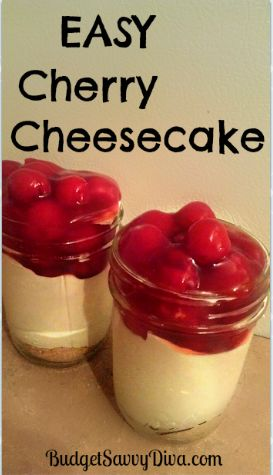 Easy Cherry Cheesecake Recipe   Budget Savvy Diva    would replace the cherries with strawberries or blueberries.