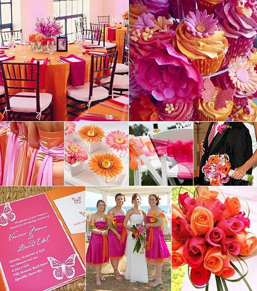 Cerise-orange färgtema på bröllop Cerise-orange color