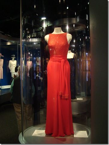 """One of Princess Diana's gowns from the exhibit. The photo doesn't do it justice - spectacular with a plunging """"v"""" in the back. Gorgeous."""
