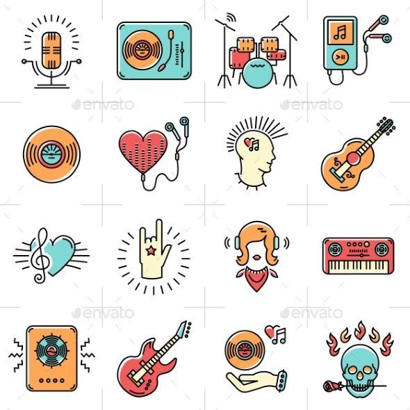 Line Art Music Icons Set Rock Punk Jazz Symbols by decobrush Thin lines music icons set. Rock music band, punk rocker, skull icon, notes, instruments, guitar, dj. Vector music illustration