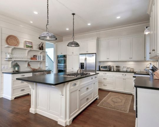 Elegant Cottage style kitchen with hardwood floors white cabinets and shelves granite counters home
