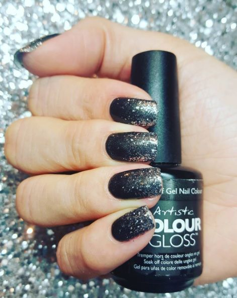 Glitter Nails using Artistic Colour Gloss Metro available at Louella Belle #Glitter #GlitterNails #Black #BlackNails #NailArt #Nails #Manicure #LouellaBelle