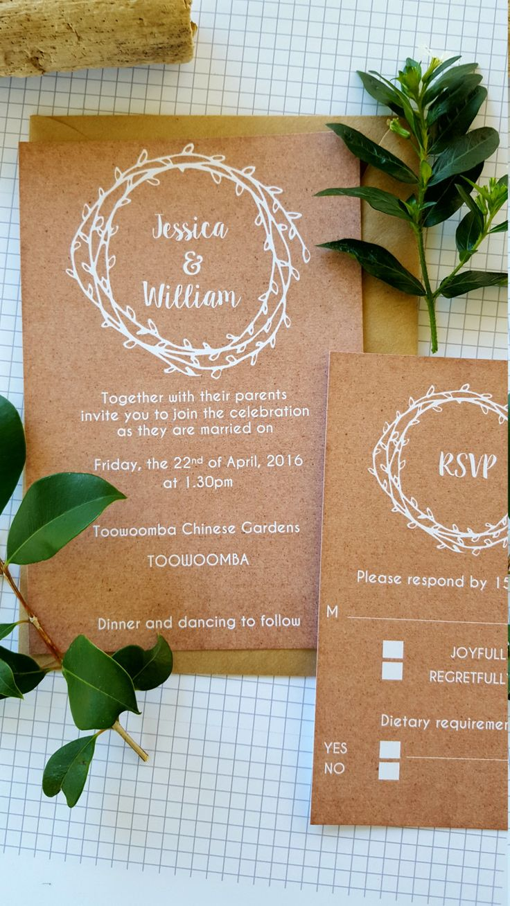 Rustic Laurel Wreath Wedding Invitations